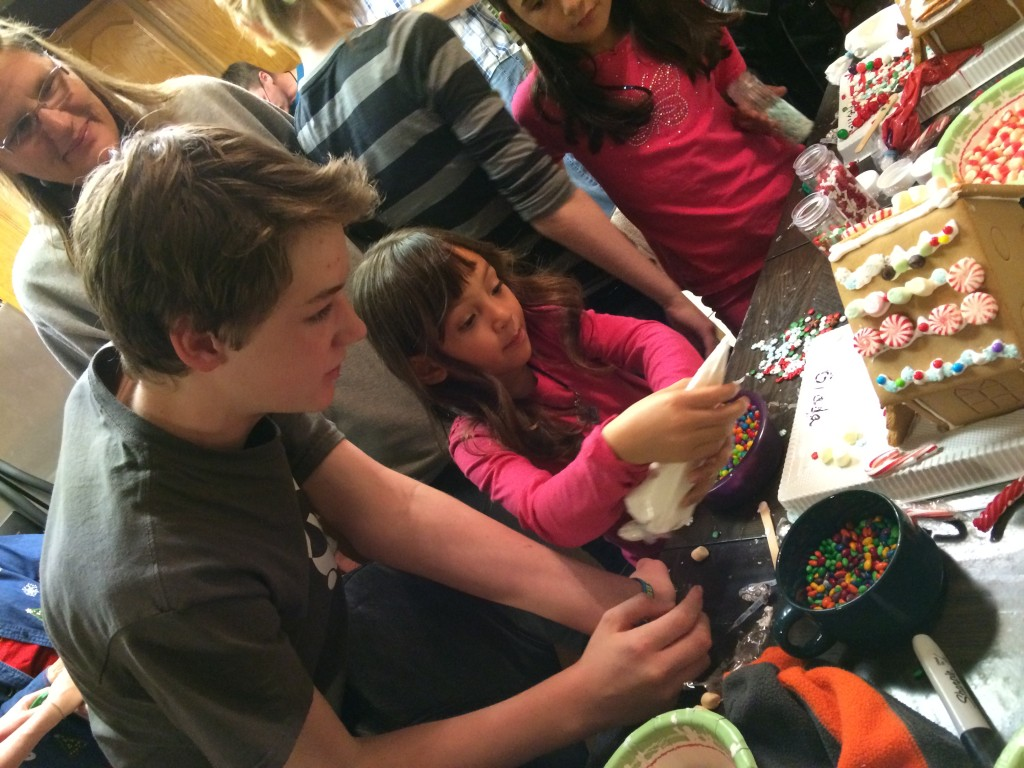 Making gingerbread houses...making friends...making community.